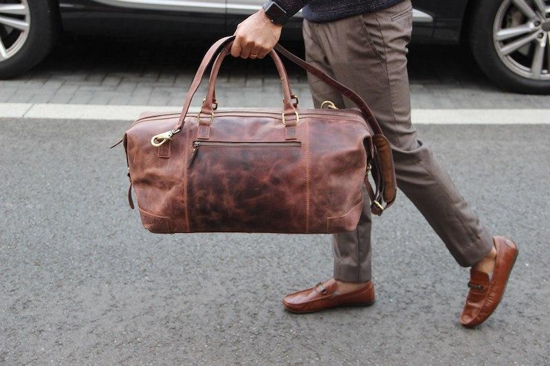 rejsetaske i læder